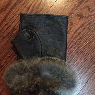 Danier fingerless gloves- real fur