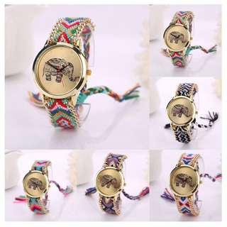 Jam Tangan Elephant Pattern Weaved Rope Band Quartz
