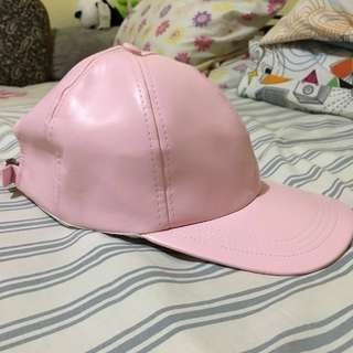 Pastel Pink Leather Snapback
