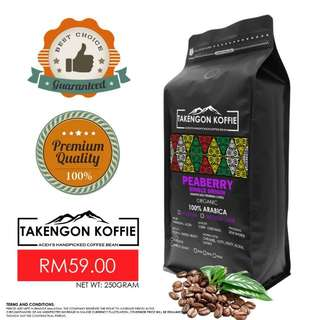 Coffee Bean - Roasted Arabica Peaberry (Single Origin) 250gram