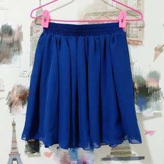 氣質深寶藍色雪紡短裙 裙子
