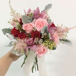 Red Roses with Pink Roses Bridal Bouquet