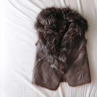 BCBG fox fur vest