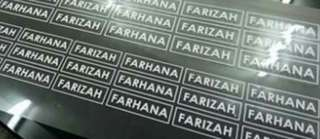 Label sticker Nama Tshirt