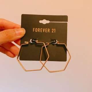 forever21 大六邊型耳環