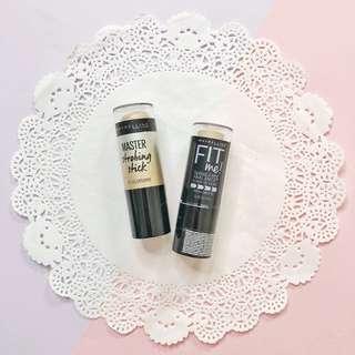 Maybelline fit me foundation stick • master strobing stick | highlighter preloved discount sale makeup blogsale
