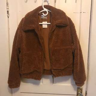urban outfitters brown teddy coat