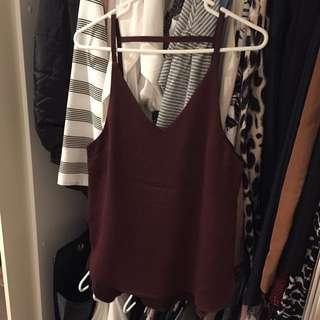 H&M Burgundy Silk Top