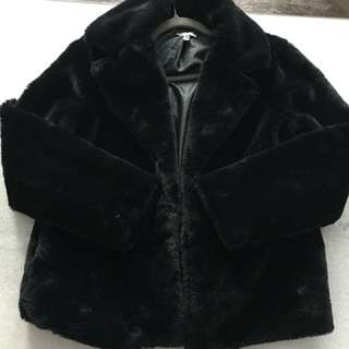 Black faux fur jacket coat new small