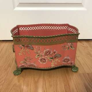 Vintage floral tin box