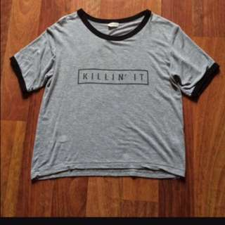 "Brandy melville ""killin' it"" crop top"