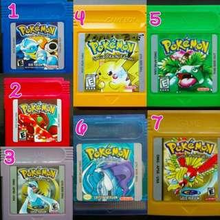 Pokemon Series Gameboy Color Cartridges