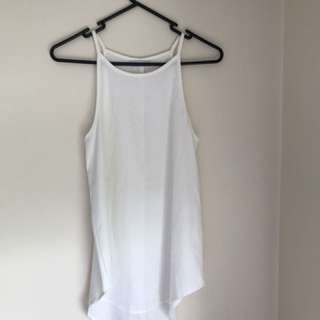 White high neck singlet top