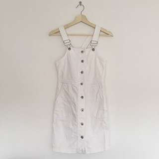 White Dotti Button Up Overalls