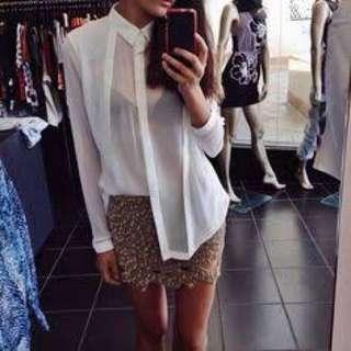 AJE Gold sequin mini skirt size 6