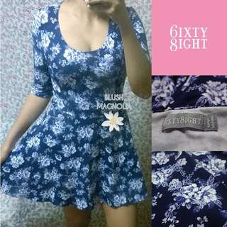Sixty Eight	Blue Floral Fit and Flare