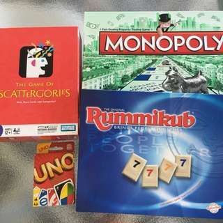 GAMES - monopoly rummikub scattergories uno