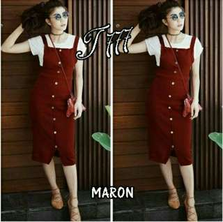 ST OVERALL 2IN1 MAROON 58.000 Bahan twiscone, fit to L, LD 98, p dress 95 dpn kcg full hdp(BERAT 0.25)