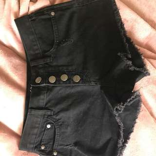 Sports girl black denim shorts
