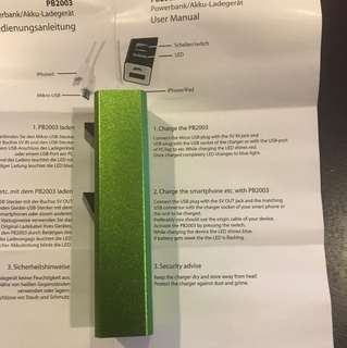 ** Free Mail ** New Power Bank 9cm neon green color