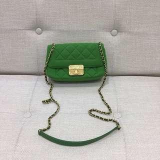 Chanel綠色棉質拼皮金扣單肩斜挎小包96新