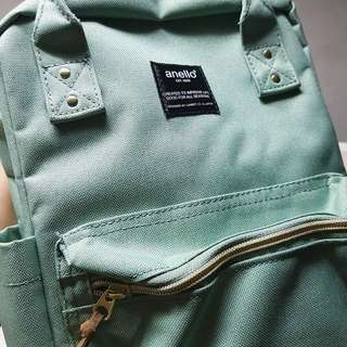 Brand New Authentic Anello Mini Square Rucksack Polyester Backpack in Mint Green