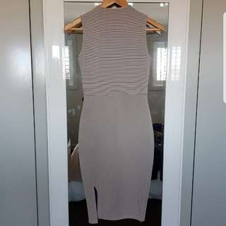 Stretchy Beige Bodycon Midi Dress size AU6 (XS)