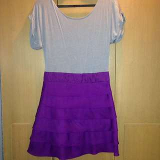 Gray with Purple Layer Short Dress