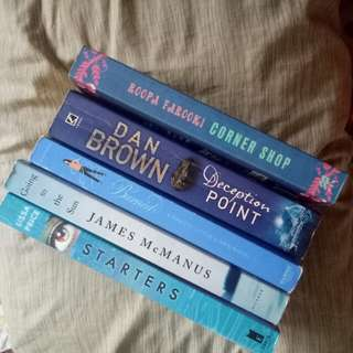Assorted books in blue