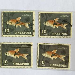 30% OFF CNY SALE {Collectibles Item - Vintage Stamp} 1962 Used 10 Cents RASBORA HETEROMORPHA- Singapore Fish Series F.U. (Fine Used) Stamp