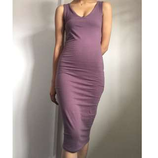 midi mauve bodycon dress - size S