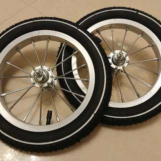 12x1.75inch Racing Type Aluminum Alloy Wheels and Tires for Strider (One Pair) 12寸鋁合金輪圈連白邊胎一對