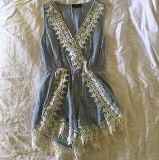 Light blue lace playsuit