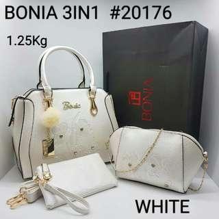 Bonia 3 in 1 Bags White Color