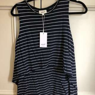 SEED Navy and White Striped layered top