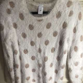 Woollen Jumper - White with rose gold spots