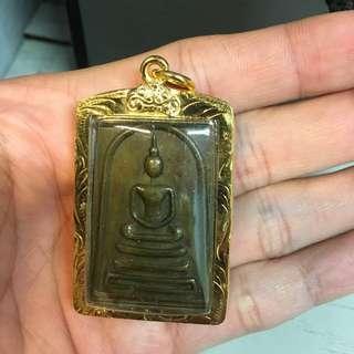 Thai Amulet-Somdej Lp Phrom Mircon Gold casing