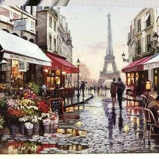 "DIY Painting by numbers - Paris Street (16"" x 20"" / 40x50cm) - framed"