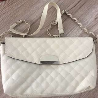 Small White Sling Bag / Clutch Bag