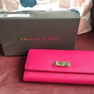 Charles & Keith | Hot Pink Wallet with Gold Bow