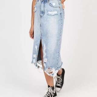 INSIGHT distressed denim midi skirt