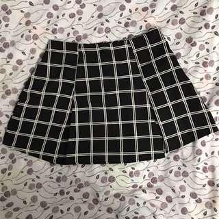 F21 grid pleated skirt, XS