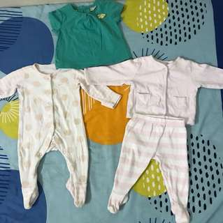 Mothercare Sleepsuits & Zara baby girl shirt