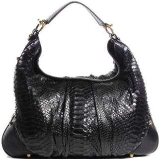 Gucci black python large hobo handbah