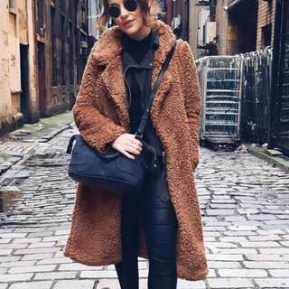 Teddy Bear Long Line Coat Jacket Winter Duster