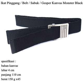 Ikat Pinggang Pria / Belt / Sabuk / Gesper Kanvas Monster Black