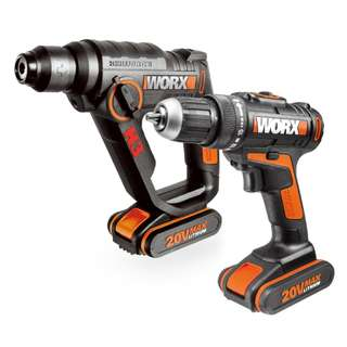 WORX WX396 Dual Drills and Dual 20volt batteries set