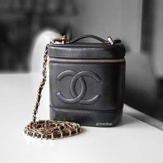 Authentic Chanel Black Caviar Vanity Case