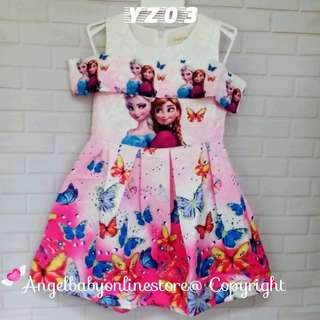 Ramadan Offer (Nett Price) Frozen Sister Pink Dress