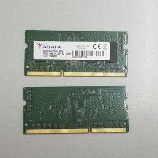 全新 ADATA DDR3L 2GB x2 1866 Notebook 筆記本 RAM Memory 記憶體 內存兩條 益街坊 抗通脹